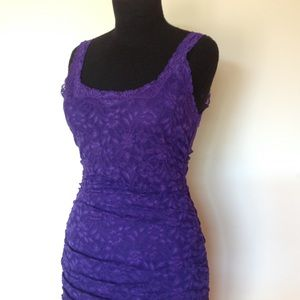 Lace Dress Bodycon Ruched Lined Cocktail  Fitted